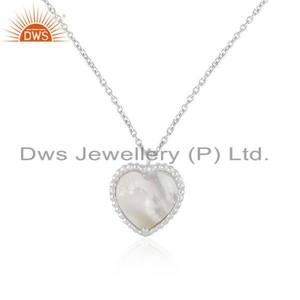 Exporter White Rhodium Plated 925 Silver Mother Of Pearl Gemstone Heart Pendant