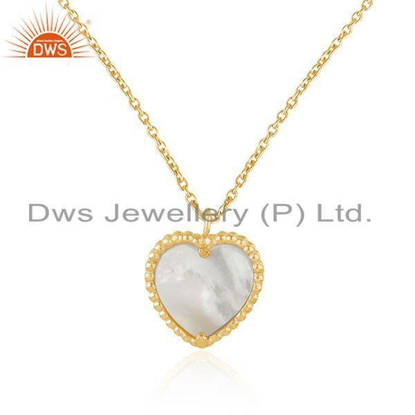 Exporter Mother of Pearl Gold Plated Silver Heart Design Chain Pendant Jewelry