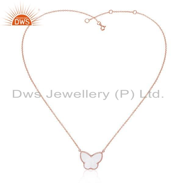 Exporter Rose Gold Plated Butterfly 925 Silver Chain Pendant Necklace Jewelry