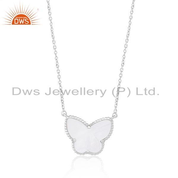 Exporter White Rhodium Plated Silver Mother of Pearl Butterfly Pendant Jewelry