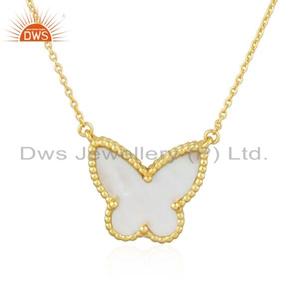 Exporter Mother of Pearl Gold Plated Butterfly Silver Chain Pendant Jewelry
