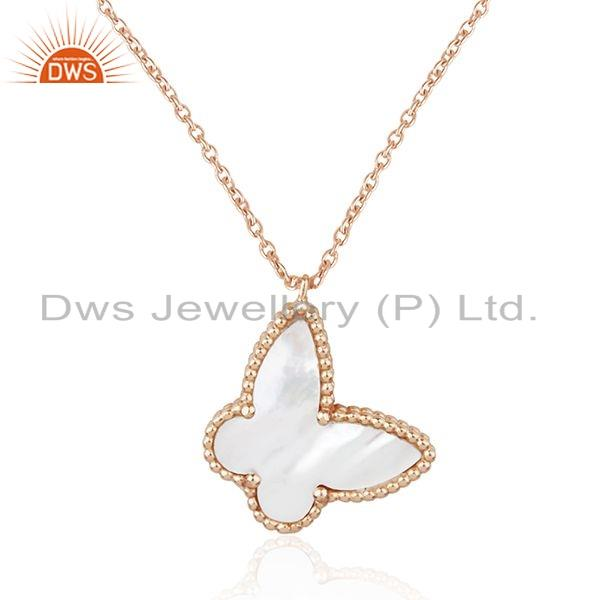 Exporter Mother of Pearl Gemstone Rose Gold Plated Silver Butterfly Pendant