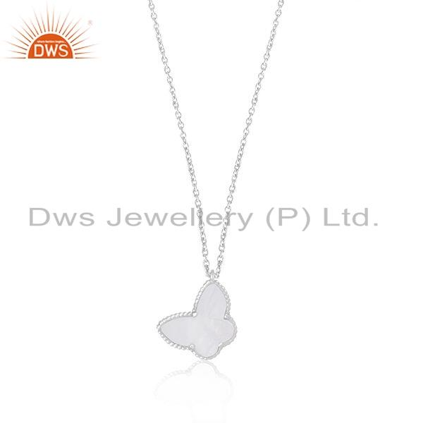 Exporter Butterfly Shape White Rhodium Plated Silver Gemstone Chain Pendant