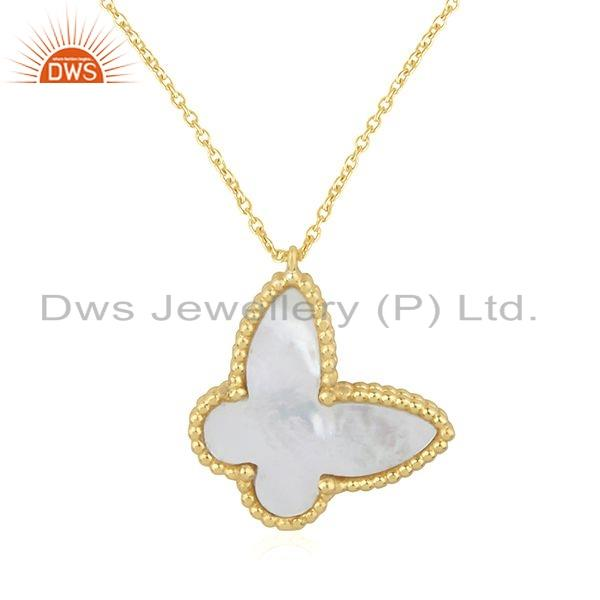 Exporter 18k Yellow Gold Plated Silver Mother of Pearl Butterfly Chain Pendant