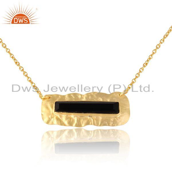 Exporter Texture Design Gold Plated Silver Black Onyx Gemstone Pendants
