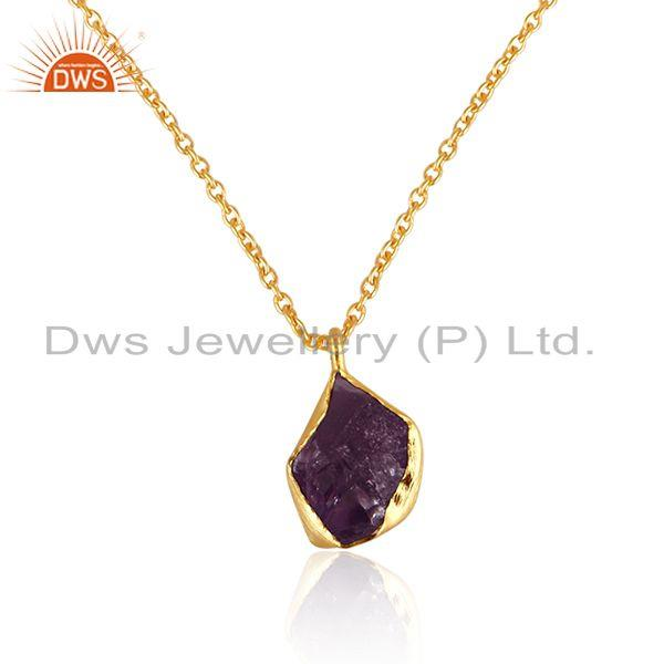 Wholesale Nugget Design Amethyst Gemstone Gold Plated Silver Chain Pendant