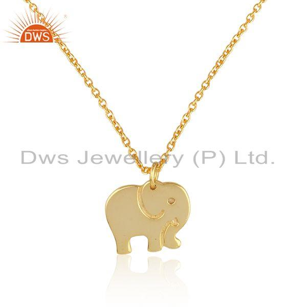 Exporter Indian Gold Plated Elephant Design 925 Plain Silver Chain Pendant