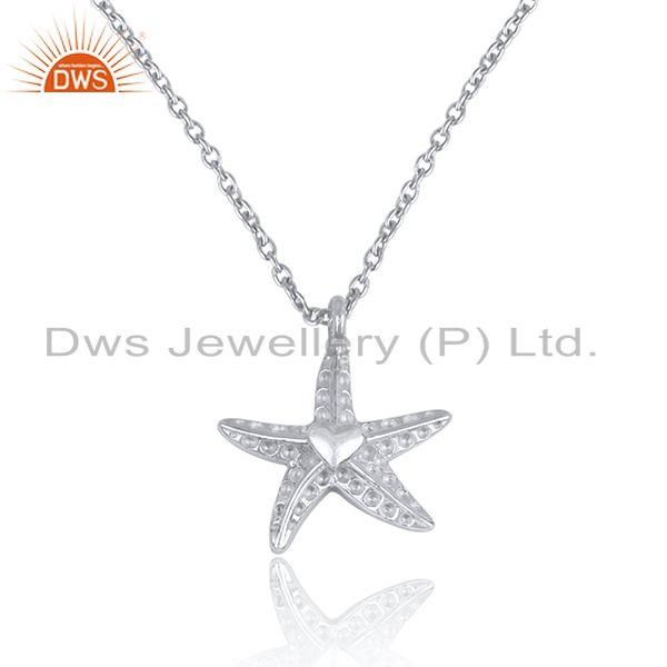 Star design womens plain 925 sterling silver chain pendant jewelry