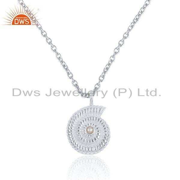Natural pearl gemstone spiral shell design chain pendant jewelry
