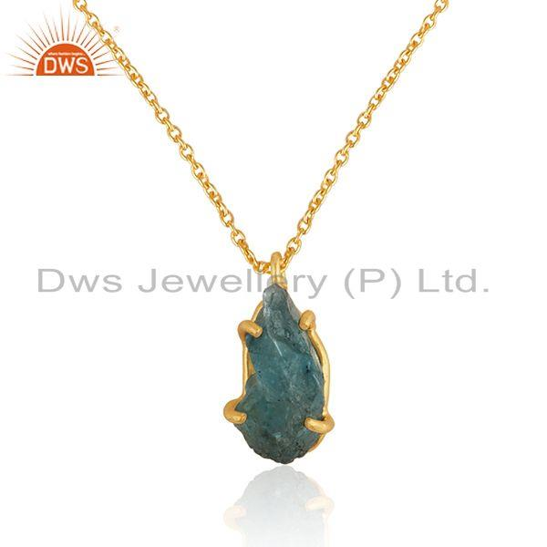 Exporter Natural Apatite Gemstone Gold Plated Silver Chain Pendant Jewelry