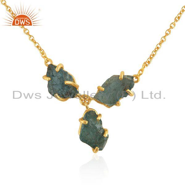 Exporter Natural Apatite Gemstone Designer Gold Plated Silver Necklace