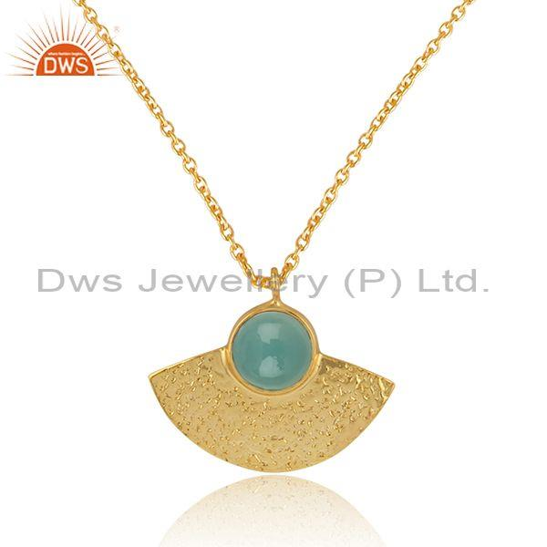 Supplier of Designer Textured Gold on Silver 925 Aqua Chalcedony Pendant