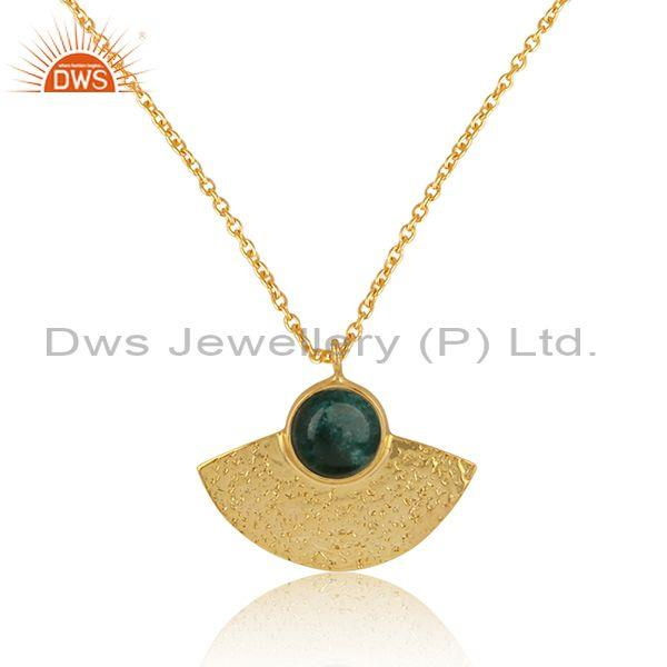 Supplier of Designer Textured Gold on Silver 925 Dyed Emerald Pendant