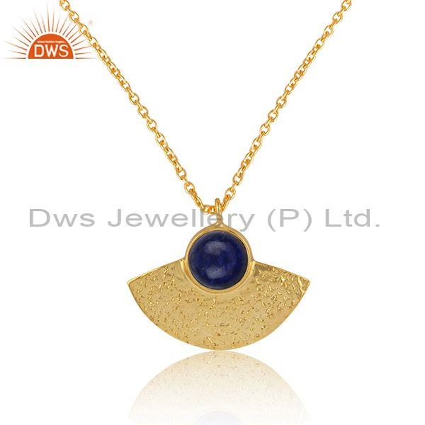 Supplier of Designer Textured Gold on Silver 925 Lapis Pendant