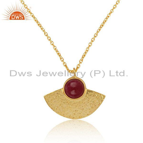 Supplier of Designer Textured Gold on Silver 925 Dyed Ruby Pendant