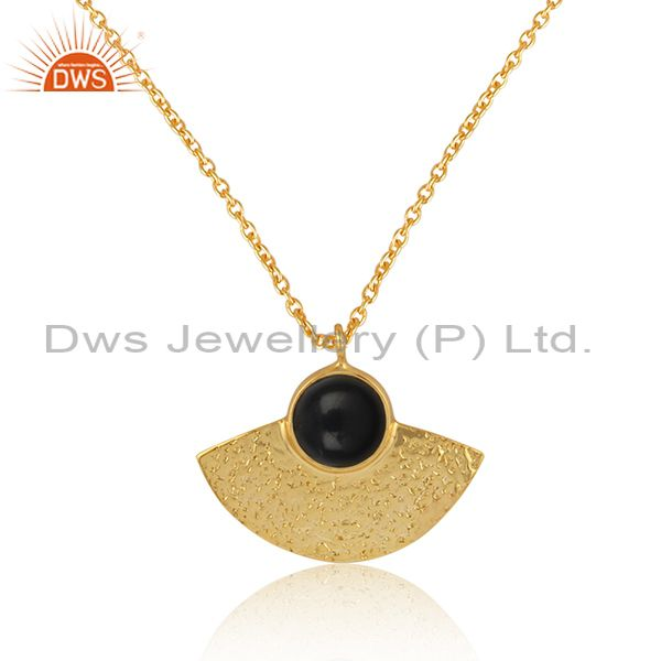 Supplier of Designer Textured Gold on Silver 925 Black Onyx Pendant