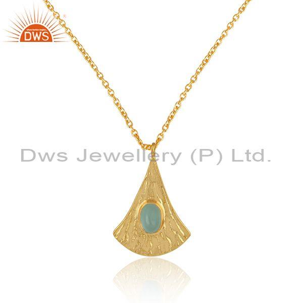Supplier of Handtextured Gold on Silver 925 Aqua Chalcedony Chain Pendant