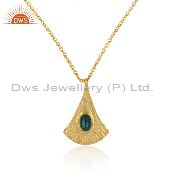 Supplier of Handtextured Gold on Silver 925 Dyed Emerald Chain Pendant