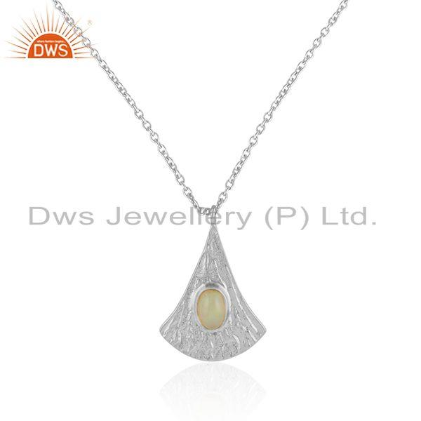 Supplier of Drop Design Texture Silver Ethiopian Opal Gemstone Chain Pendant
