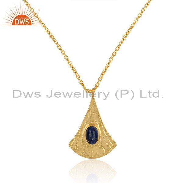 Supplier of Handtextured Gold on Silver 925 Lapis Chain Pendant