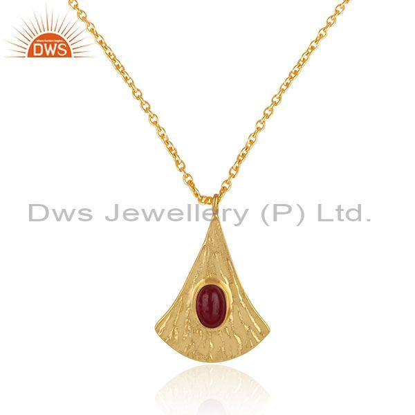 Supplier of Handtextured Gold on Silver 925 Dyed Ruby Chain Pendant