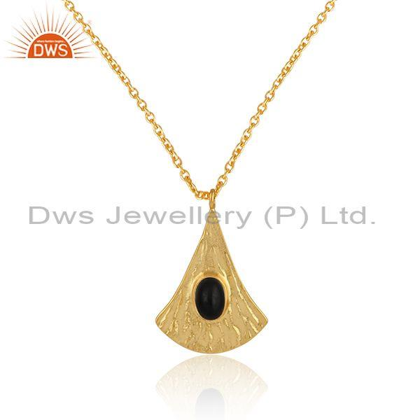 Supplier of Handtextured Gold on Silver 925 Black Onyx Chain Pendant
