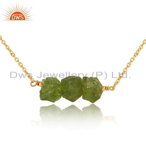 Exporter Natural Peridot Gemstone Handmade Gold Plated 925 Silver Pendant