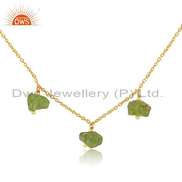 Exporter Natural Peridot Gemstone New Gold Plated Silver Pendant Jewelry