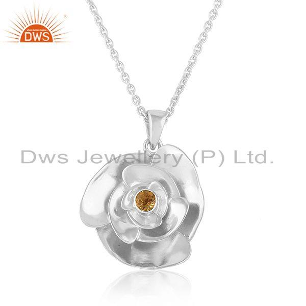 Rose design 925 fine silver citrine gemstone chain pendant necklace