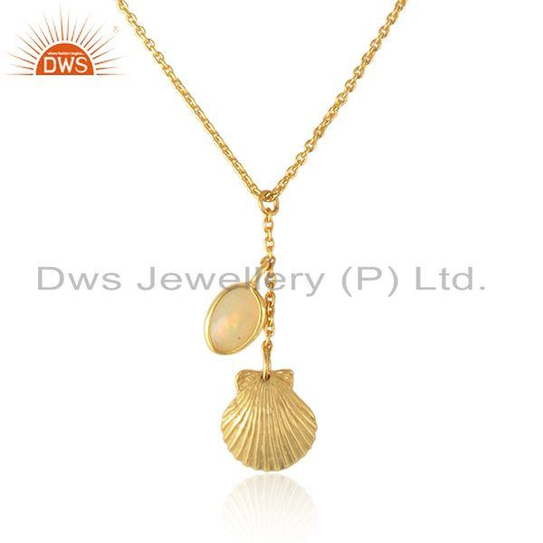 Designer seashell ethiopian opal necklace in yellow gold on silver