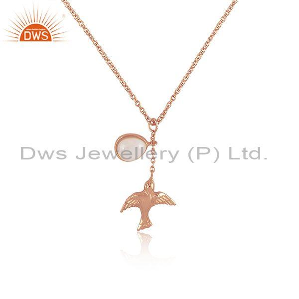 Ethiopian opal set rose gold on 925 silver pendant and chain