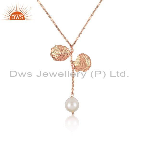 Rose gold on 925 sterling silver pearl set pendant and chain