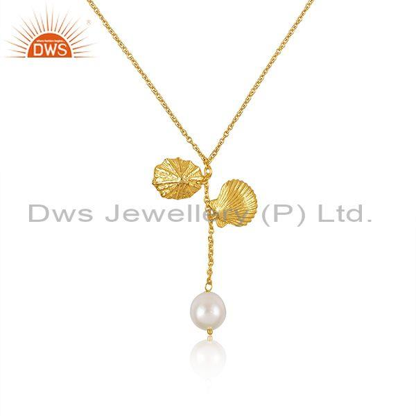 Pearl set gold on silver classic pendant and statement chain