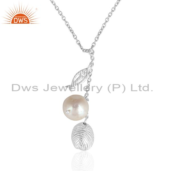 Charm design 925 fine silver natural pearl gemstone chain pendant