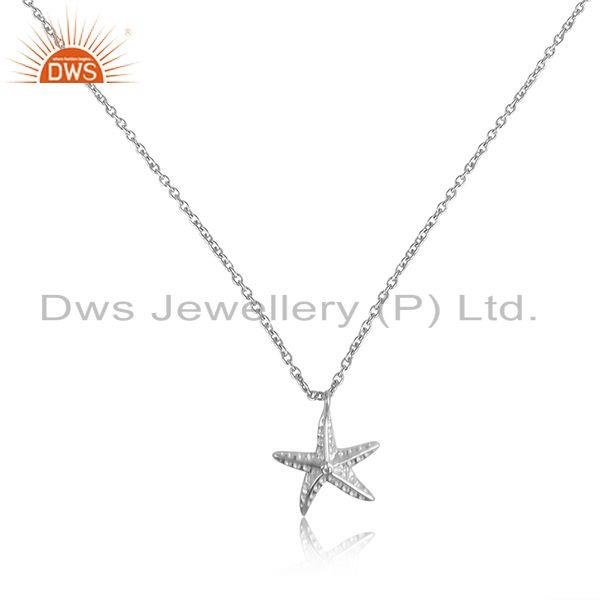 Sterling silver star design sterling fine silver chain pendant