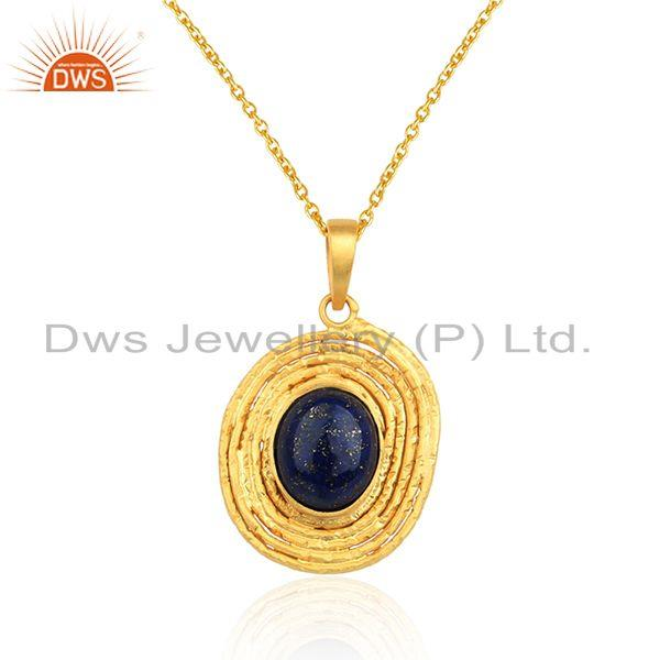 Lapis lazuli gemstone oval design gold plated silver chain pendant