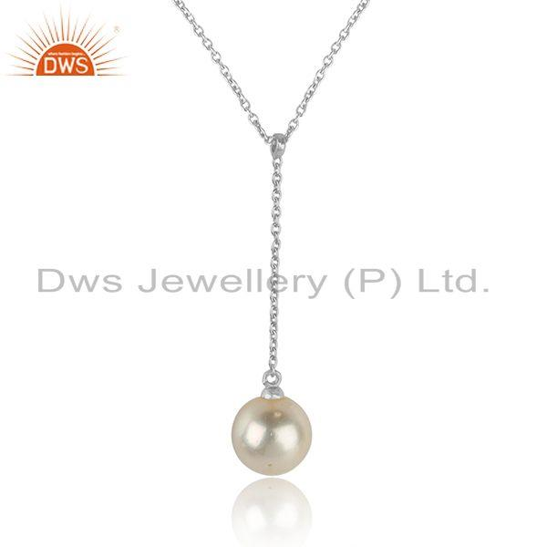 Natural pearl gemstone white rhodium plated silver chain necklaces