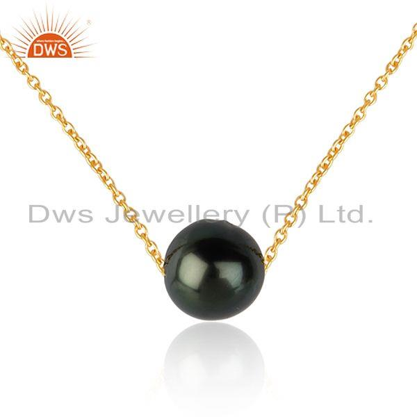 Gray pearl gemstone designer 18k gold plated silver necklaces jewelry