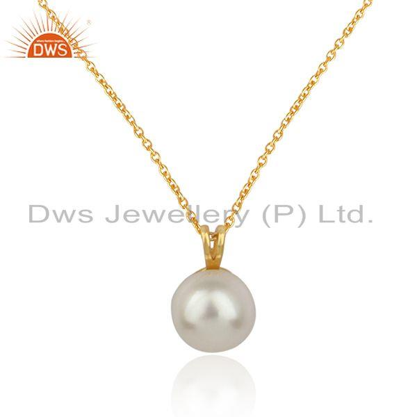 Natural pearl gemstone designer gold plated silver chain pendant