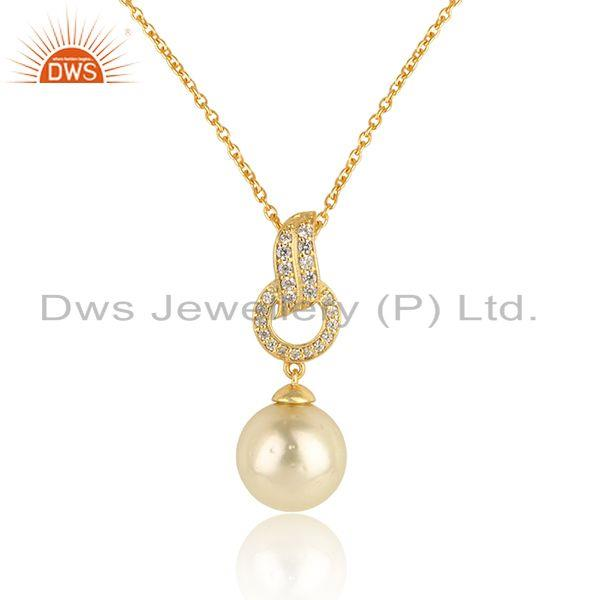Cz natural pearl gemstone designer gold plated 925 silver pendant