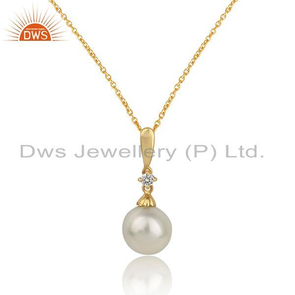 Designer gold plated silver womens pearl gemstone chain pendant