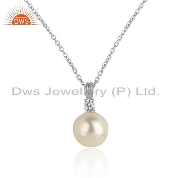 Pearl gemstone white rhodium plated silver girls chain pendant