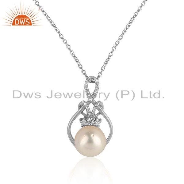 Girls white rhodium plated 925 silver cz pearl gemstone pendants