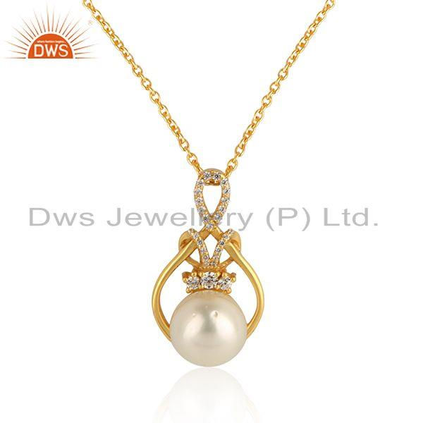Designer gold plated 925 silver natural pearl cz chain pendant