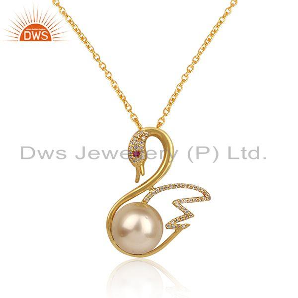 Swan design gold plated silver cz pearl gemstone chain pendant