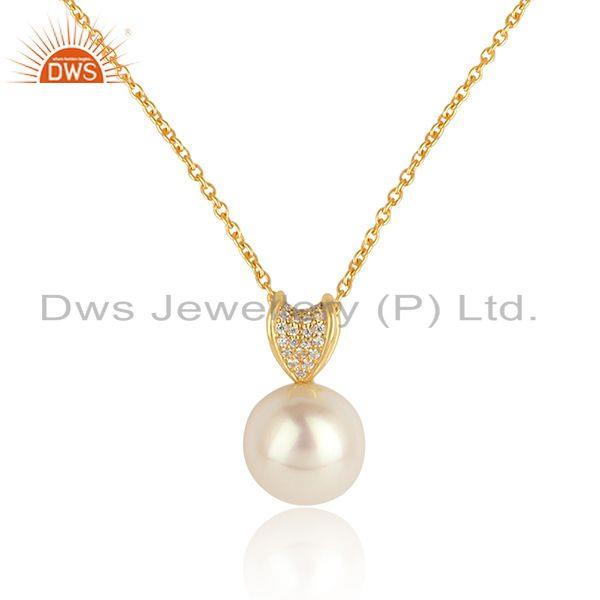 New arrival 18k gold plated 925 silver cz pearl gemstone pendant