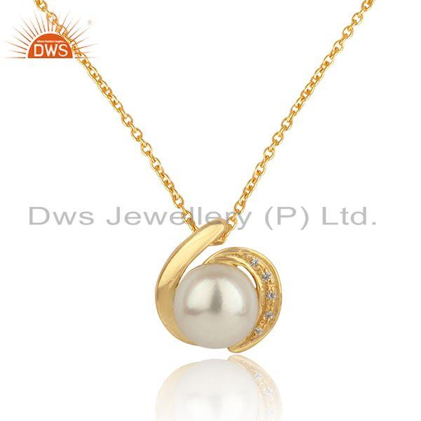 Natural pearl gemstone 18k gold plated silver girls chain pendant
