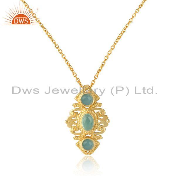 Bohemian Necklace in Yellow Gold on Silver with Aqua Chlacedony Wholesale