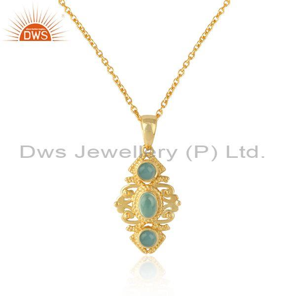 Boho Necklace in Yellow Gold on Silver and Aqua Chalcedony Wholesale
