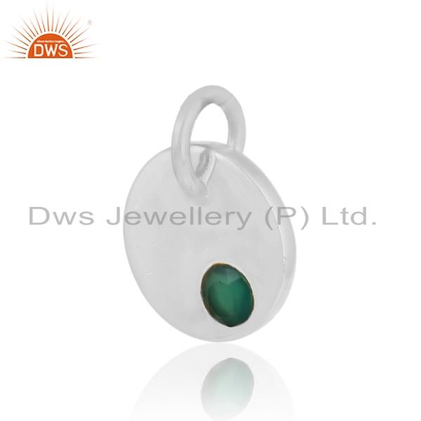 Handmade dainty charm pendant in solid silver with green onyx